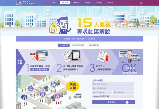 客製化網頁設計作品,輔導民間推動都市更新